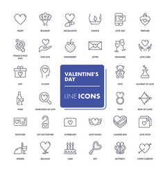 line icons set valentines day vector image