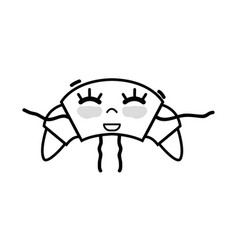Line kawaii cute happy croissant food vector