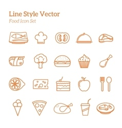 Line Style Food Icon Set vector image