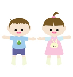 Little boy and little girl vector image