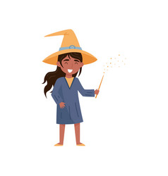 lovely little girl dressed as a witch with a magic vector image