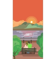 lovers on a bench watching the sunrise vector image