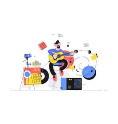 man playing electric guitar vector image