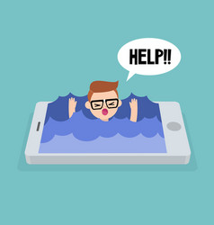 Mobile addiction concept young nerd drowning vector
