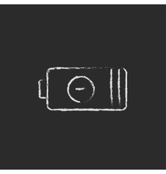 Negative power battery drawn in chalk vector image
