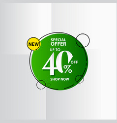 New discount label up to 40 special offer shop vector