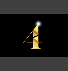 number 4 four gold golden metal metallic logo vector image