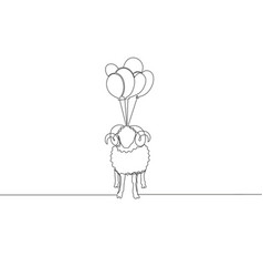 One single line drawing sheep fly to sky vector