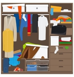 Open wardrobe with mess clothes vector
