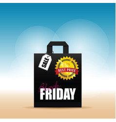 Paper bag with black friday on it vector