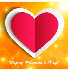 Paper heart isolated on shiny orange background vector