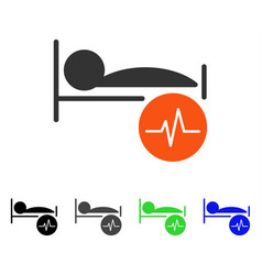 Patient ecg control flat icon vector