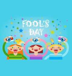 People group taking photo first april fool day vector