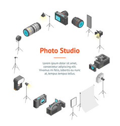 photo studio equipment signs 3d banner card circle vector image