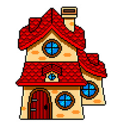 pixel art fairy tale house detailed isolated vector image