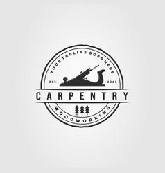 Planer woodworking carpentry logo woodwork vector