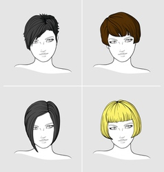 Portraits of women with different haircuts vector image