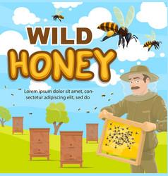 Poster beekeeper at beekeeping apiary vector