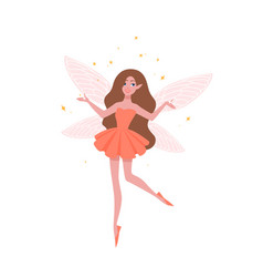 Pretty fairy in beautiful dress and with butterfly vector