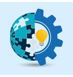 puzzle gear sphere teamwork support design vector image
