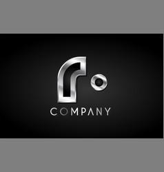R silver metal alphabet letter icon design vector