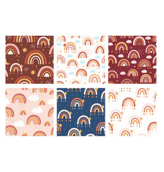rainbow seamless pattern set vector image