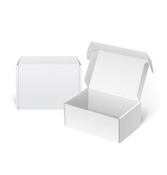 Realistic white package cardboard box vector