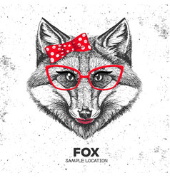 Retro hipster animal fox hand drawing muzzle vector