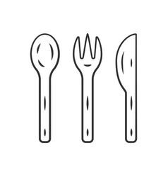 Reusable bamboo cutlery set linear icon vector