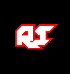 ri logo design initial ri letter design vector image