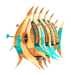 Robot-fish with levers vector