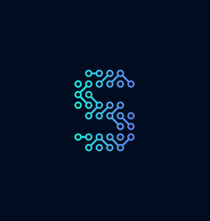 S circuit technology letter logo icon design vector
