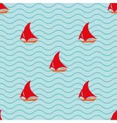 Sailing ship with waves geometric seamless pattern vector