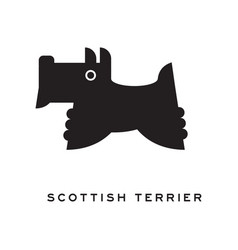 scottish terrier dog silhouette isolated on white vector image