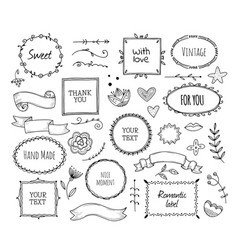 scrapbook sketch elements doodle square borders vector image
