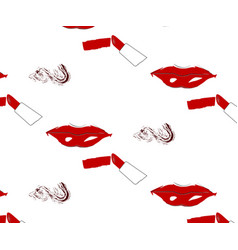 seamless pattern of lips and lipstick with spot vector image