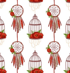 Seamless pattern with dream cathers poppies in vector