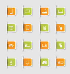 Set a collection unique paper stickers icons vector