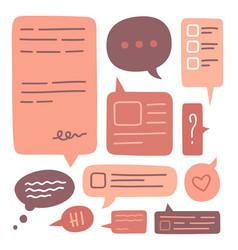 set cute speech bubbles icon collection hand vector image
