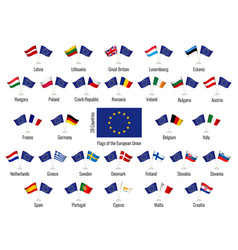 Set flags european union big vector