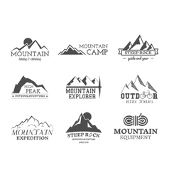 Set of monochrome outdoor adventure explorer camp vector image