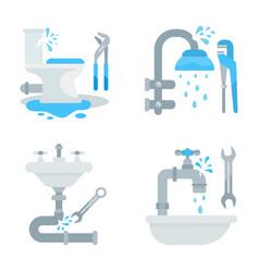 Set tools for plumbings vector
