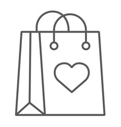 shopping bag with heart thin line icon love and vector image