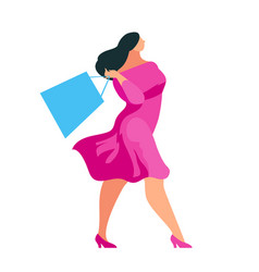 shopping buyer walking with bags in hands vector image