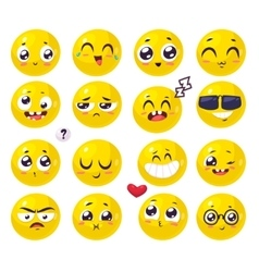 Smiles set of characters cute cartoons vector image