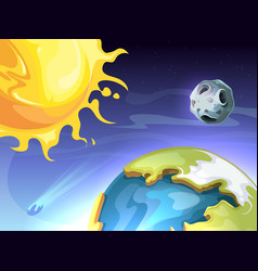 solar system sun earth moon in space astronomy vector image