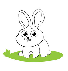 surprised bunny rabbit sitting on green grass vector image