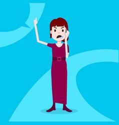 Teen girl character angry phone call female vector