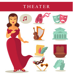 Theater or opera flat icons singer ballet vector