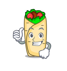 thumbs up burrito character cartoon style vector image